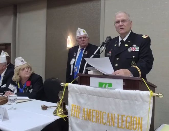 Lt. Col Barnard Kemter, US Army (Ret.) repeats his Memorial Day address July 10 at the American Legion Department of Ohio's annual convention.