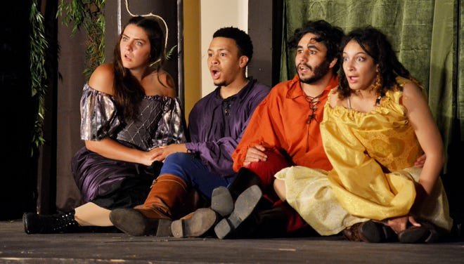 """Natalie Steen, from left, Brandon Sapp, Peter Ruiz and eMjay Ross play the young lovers in """"A Midsummer Night's Dream"""" at Ohio Shakespeare Festival."""