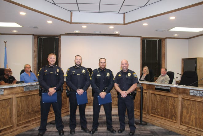 Three officers with the Ardmore Police Department were recently promoted to the rank of Corporal. From left to right: Cpl. Dylan Davis, Cpl. Jazper Long, Cpl. Adam Eller, Chief Kevin Norris.