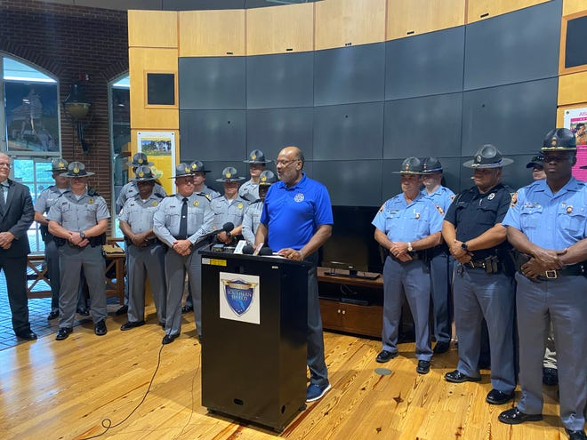 Governor's Office of Highway Safety Director Allen Poole during the launch of Operation Southern Shield at the Georgia Visitor's Center off I-20 in Augusta.