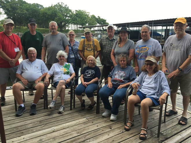 Some members of the Wheeler Dealers Camping Club ate lunch at the Pioneer Cove Marina on Kaw Lake.