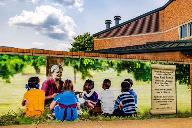 Bartlesville Public Library's new mural of Miss Ruth Brown is located on the eastern side of the building.