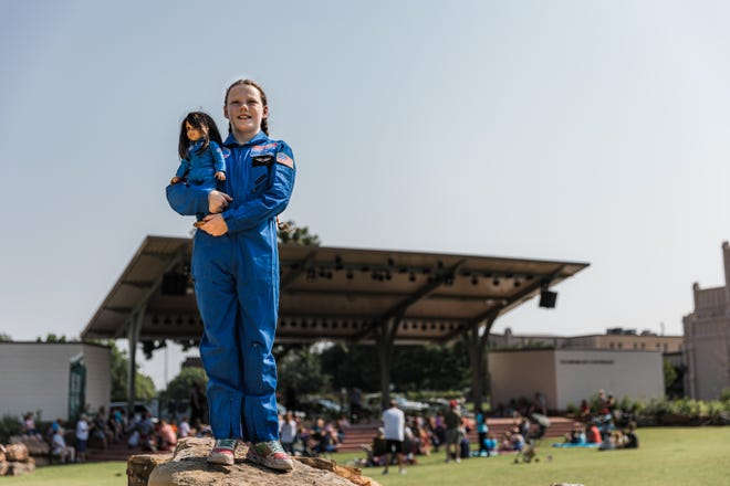 Isabel Thoreson, 11, and her American Girl doll, Luciana Vega, recently returned from Space Camp in Huntsville, Alabama.