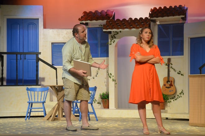 """Sam Carmichael (played by Jonathan Harvey) offers some fatherly advice to Sophie Sheridan (played by Emily Borbon) — even though it's not certain he's her father — in a scene from """"Mamma Mia!"""" The show opened last weekend and will continue Friday (two performances), Saturday, and Sunday at Brownwood's Lyric Theatre. Tickets for the musical based on tunes made popular by ABBA are available online at www.brownwoodlyrictheatre.com."""