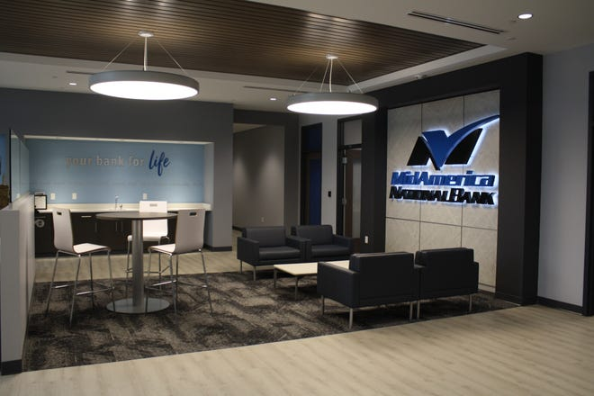 MidAmerica National Bank is the Canton Main Street Spotlight of July. Their building is completely brand new.Pictured is the customer waiting area.