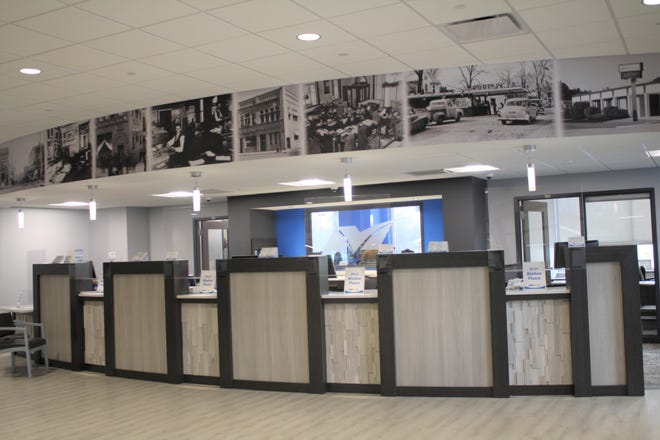 Pictured is the teller area of the newly constructed MidAmerica National Bank.