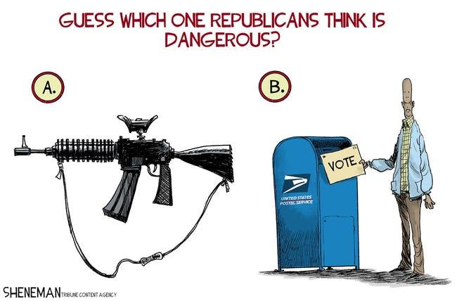 Drew Sheneman - Editorial Cartoon on guns and voting