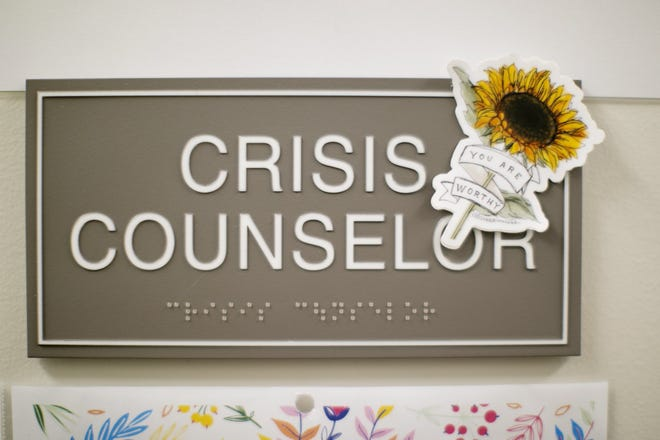 A sign from inside CHOICES, a domestic-violence organization in Columbus. Despite increased need, the shelter has been unable to open its new 24-bed section because of staffing shortages.