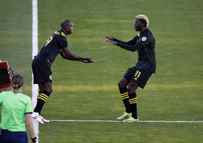The Crew signed Bradley Wright-Phillips, left, to fill in for Gyasi Zardes (11).