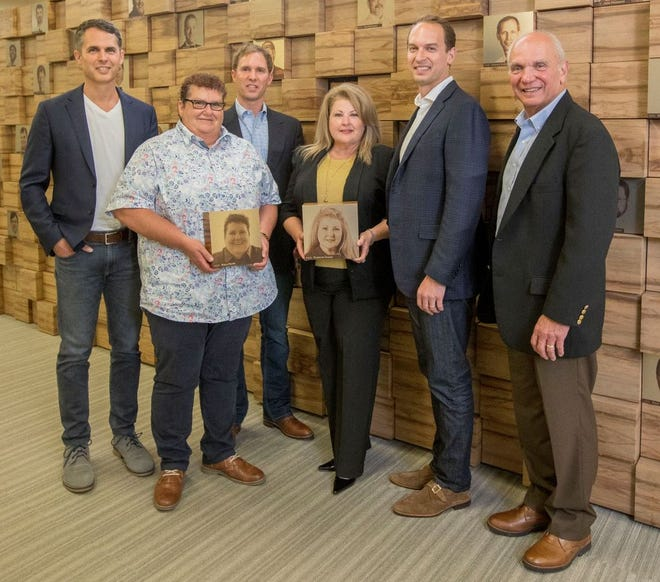 2020 Employees of the Year with Danos owners are (from left) Eric Danos, Mary Perez, Mark Danos, Frances Kosak, Paul Danos and Hank Danos.