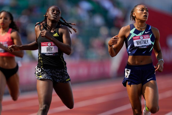 Former East Ridge standout Kaylin Whitney, right, Lynna Irby compete during the women's 400-meter run at the U.S. Olympic Track and Field Trials June 18 in Eugene, Ore. [ASHLEY LANDIS / AP]