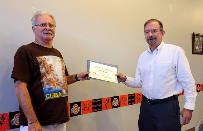 Lifelong resident of Guernsey County, Jeff Hayes, a retired Navy veteran and probation officer from the Guernsey County Juvenile Court, was recently presented with a certificate from Dr. Andrew Reisner, executive director of Forensic Diagnostic Center. The certificate is for appreciation in recognition of his outstanding service and longstanding commitment of more than 30 years on the board of directors of the Forensic Diagnostic Center of District Nine, and for his recent service as president of the board. Replacing him as president is John Moon. The Forensic Center also elected two new board members, Katie Archibald and Herb Fields.  Founded in 1973, the center is certified by the Ohio Mental Health & Addiction Services to provide court ordered forensic evaluations to courts in a seventeen-county area in Southeastern Ohio. These evaluations include competency to stand trial and sanity evaluations.  For ten counties, the center provides monitoring for forensic patients conditionally released from state psychiatric hospitals. The center is also a contract Agency of the Mental Health & Recovery Services Board.