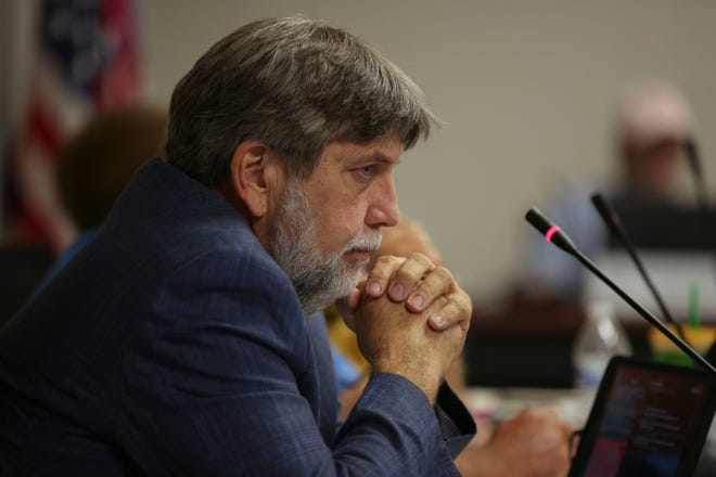 Maury County Commission Chair Don Morrow attends a county commission meeting in side the Tom Primm Commission Meeting Room in Columbia, Tenn., on Monday, July 19, 2021.