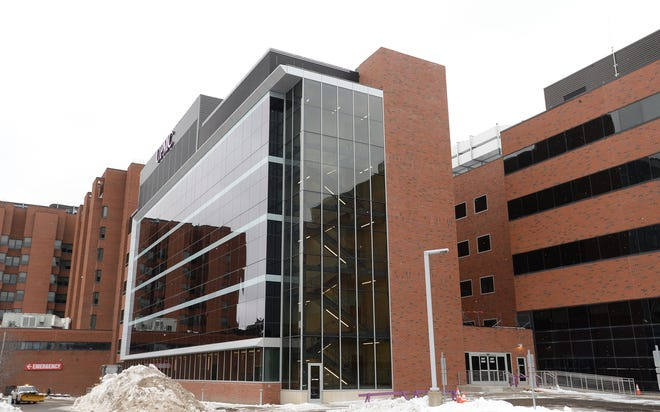 The patient tower at UPMC Hamot is photographed on Jan. 29.
