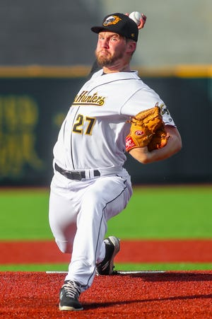 Gastonia pitcher A.J. Merkel prepares to deliver toward home plate during last Saturday's game against the West Virginia Power.