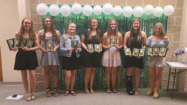 The Leady Leafs Softball Team celebrated their season at a recent awards event with recognition given to all players, including, from left, Anna Narup, Hannah Dunk, Morgan Bjorkman, Maya Bieneman, Taylor Zvonik, Robyn Nelms and Natalie Baumgardner. Lauryn Wildermuth also was given an award, but was absent for the photo.