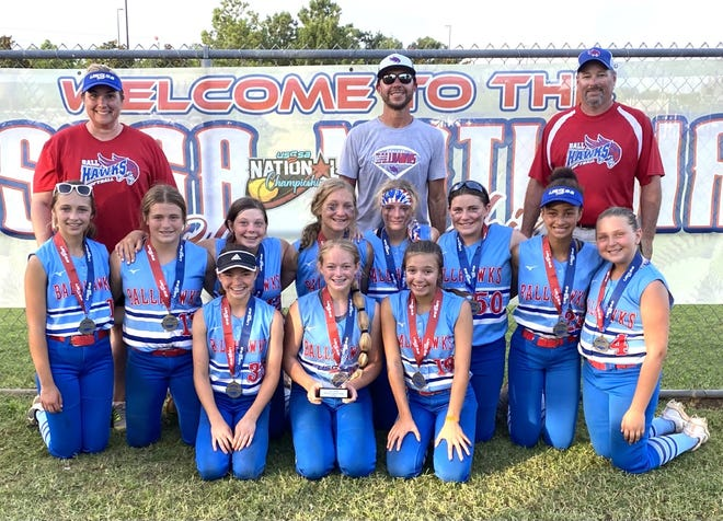 Shown in the picture left to right: Front row: Kaylyn Gale, Kalleigh Gale, Remy Hicks Middle row: Addy Yepsen, Makayla Hecht, Kolbie Cernovich, Macee Pickering, Kylee Shipman, Mackenzie Peck, Jendayia Crowe, and Kieryn Abernathy Back row: Asst. Coach Heidi Abernathy, Head Coach Josh Hicks, and Asst. Coach Kraig Gale