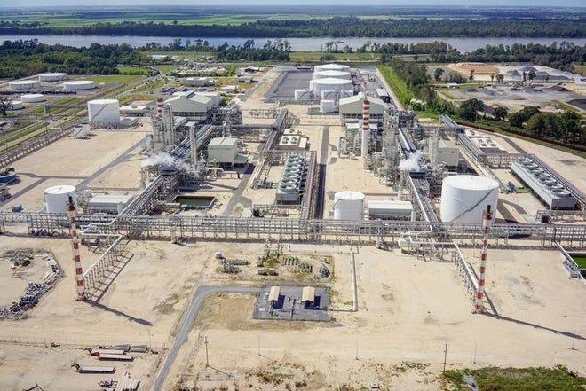 An aerial photo shows the Methanex complex in Geismar.