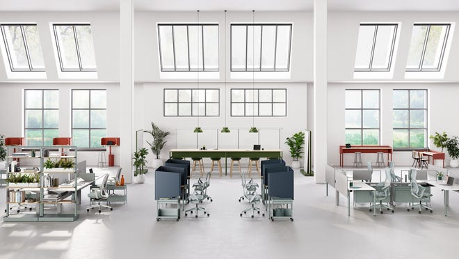 """OE1 is an office """"unsystem""""—a series of extremely versatile, adaptable office furniture that's suited to a wide range of workplaces, from home office to small business to boardroom."""