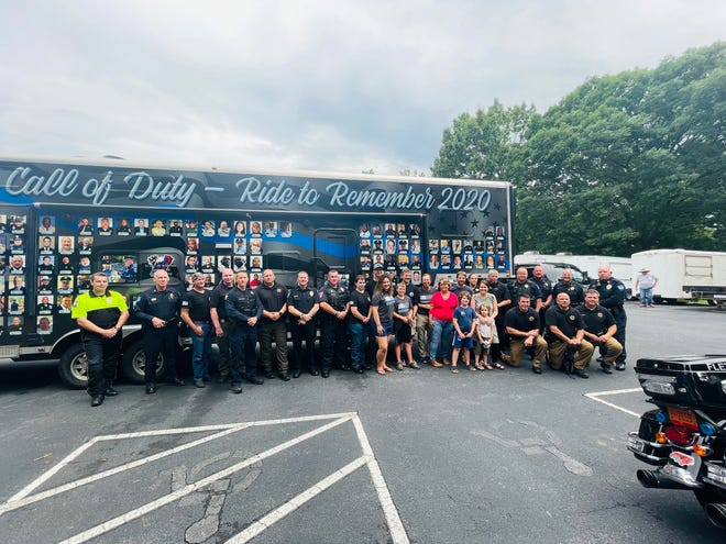 """The Beyond the Call of Duty """"Ride to Remember 2020"""" made a stop in Hendersonville at Jackson Park Monday to pay tribute to fallen Deputy Ryan Hendrix and meet with members of his family."""