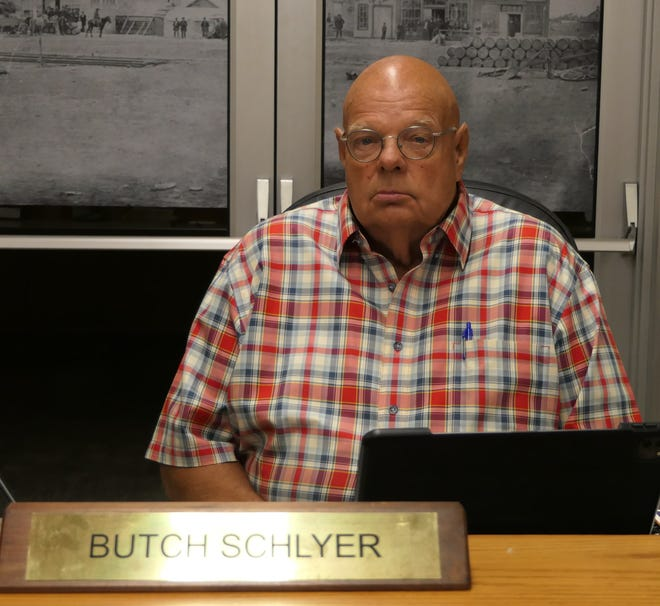 Butch Schlyer presides over the Ellis County Commission Meeting on July 19, 2021.