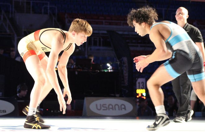 Kannon Webster of Washington faces Yusief Lillie of Maple Valley, Wash., on Tuesday in the 120-pound bracket in the U.S. Marine Corps Junior Freestyle National Championships in Fargo, N.D.