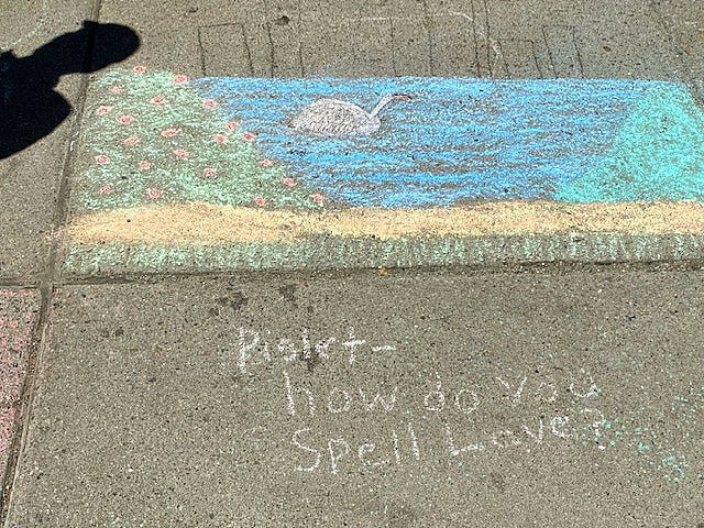 """Sidewalk Dennis"" Boulet creates beautiful chalk art on the walkways around Boston Common."