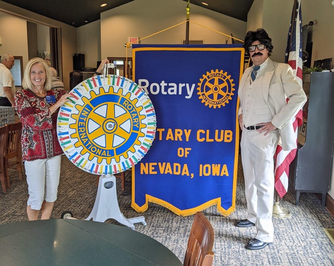 Emmi Miller, president of the Nevada Rotary Club, and member Dan Johnson, portray the game show hosts.