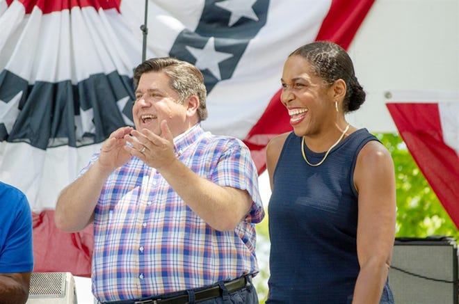 Gov. JB Pritzker and Lt. Gov. Juliana Stratton, pictured at the Illinois State Fair in 2019, announced Monday they would run for re-election in 2022.