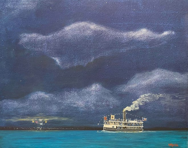 """Artwork by William Hall included in the """"Don't Miss the Boat"""" exhibit at the the Harbor Springs Area Historical Society."""