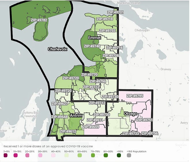 This map and key from the University of Michigan's Lighthouse COVID-19 data map indicate the COVID-19 vaccination rate by zip code for residents 16 and older within the Health Department of Northwest Michigan's four-county jurisdiction.