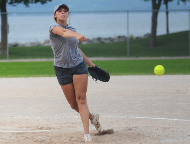 Annie Timmer of the Blaze delivers a pitch to the plate during an eventual eight-inning win that came with 10 strikeouts for Timmer.
