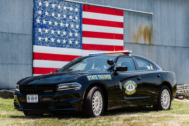 The 2021 Missouri State Highway Patrol submission features a marked, black Missouri State Highway Patrol Dodge Charger.