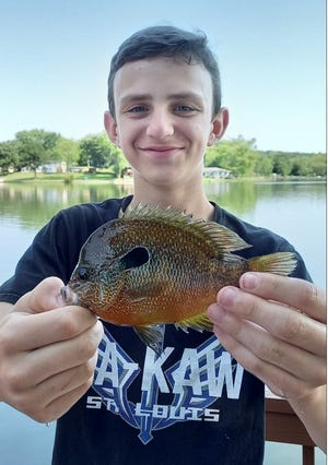 """MDC congratulates Robert """"RJ"""" Audrain IV of St. Louis for catching the latest state record for longear sunfish. Audrain was using a throwline July 3 when he caught the 5-ounce fish from a private pond in Franklin County."""