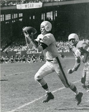Mac Speedie makes a catch for the Cleveland Browns in an undated photo.