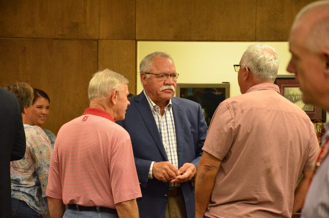 Interim City Manager Eric Benson attends a farewell reception July 22, 2019, as Chance Allison, former finance director-turned assistant city manager, steps up to take on the role of city manager.