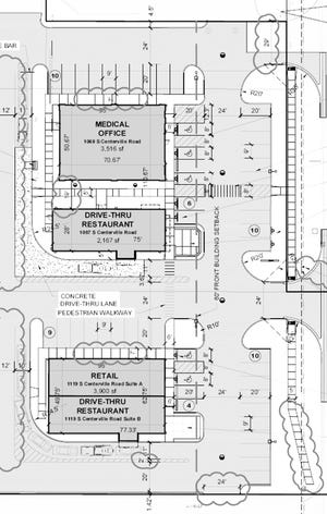Detail from a proposed plan showing new buildings at the site of the recently closed Sturgis Bowl property.