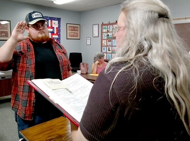 Josh LaFluer was appointed Monday to serve as trustee on Constantine Village Council.He was sworn in by village clerk Cindy LaFluer.