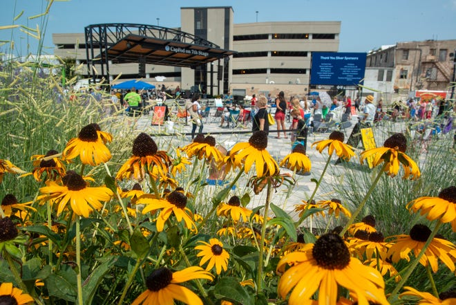 Flowers bloom at Evergy Plaza during the Greater Topeka Partnership's annual meeting Tuesday afternoon.