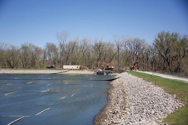 Work on the $850,000 Cambridge lagoon project to meet Iowa Department of Natural Resource requirements began in March and is scheduled to be completed in December.