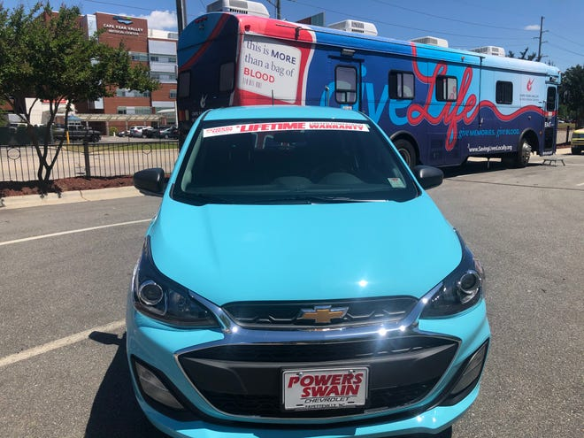 A high school student who donates blood at a blood drive at the Powers Swain Chevrolet in Fayetteville could win a Chevy Spark.