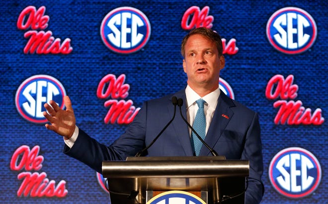 Ole Miss Head Coach Lane Kiffin speaks to the media during SEC Media Days at the Hyatt Regency in Hoover, Ala., Tuesday, July 20, 2021. [Staff Photo/Gary Cosby Jr.]