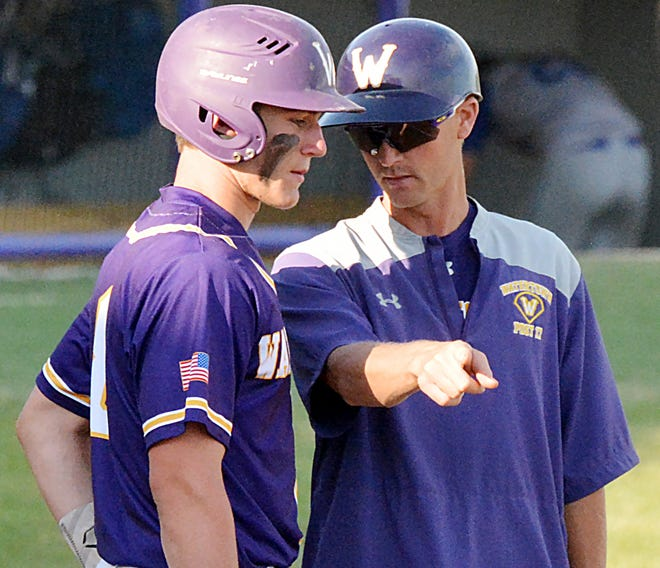 Watertown Post 17 head coach Ryan Neale (right) visits with Cole Holden during a game this season. Post 17 is scheduled to face Sioux Falls East at 11 a.m. Friday in the opening game of the 2021 State Class A American Legion Baseball Tournament at Brandon.