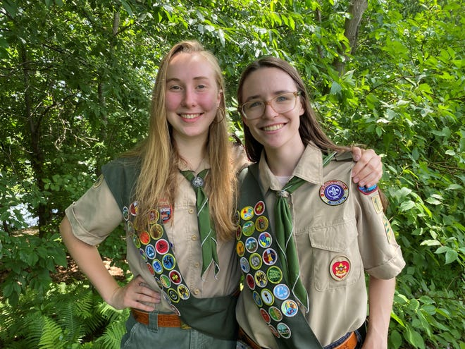 Ella Mattingly (left) and Sidney Goldinger (right) earned their Eagle Scout status this spring.