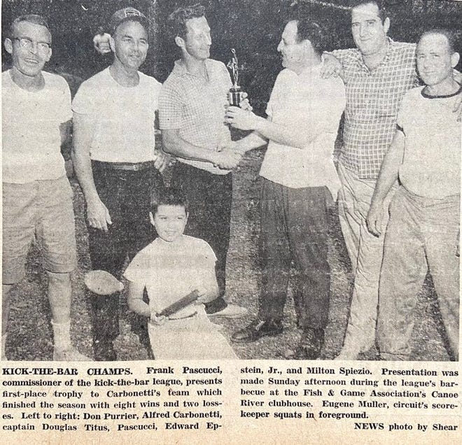 In 1963, a group of men revived the old game of Kick-the-Bar.