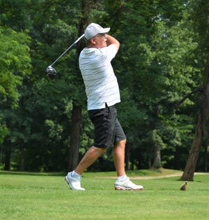 Three-time City Senior Golf Tournament champion Chris Kallgren watches his drive during Day 1 of the event on Tuesday at Binder Park Golf Course.