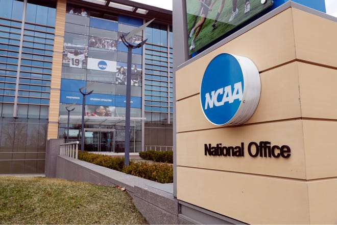 FILE - In this March 12, 2020, file photo, the national office of the NCAA in Indianapolis is shown.