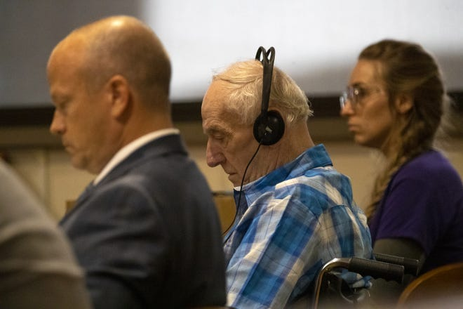 Defendant Raymand Vannieuwenhoven during his trial at the Marinette County Court House, Tuesday, July 20, 2021, Marinette, Wis. Vannieuwenhoven is accused of the murders of a Green Bay couple at a Marinette County park campground 45 years ago.