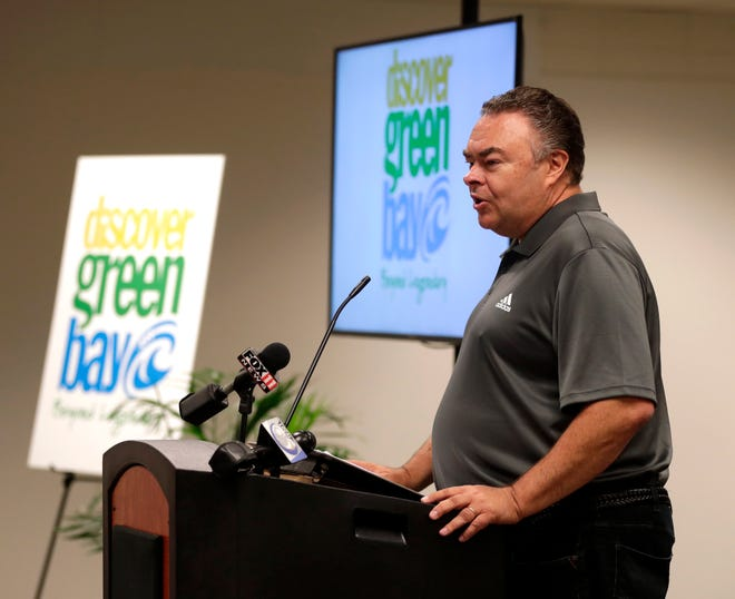 Brad Toll, Discover Green Bay president and CEO, announces the new name and look for the former Greater Green Bay Convention & Visitors Bureau on July 20, 2021.