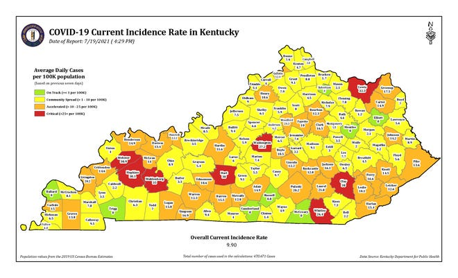 The COVID-19 current incidence rate map in Kentucky as of Monday, July 19.